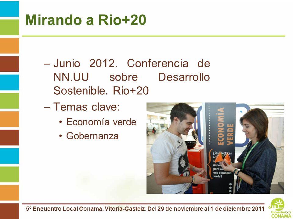 Mirando a Rio+20 Junio 2012. Conferencia de NN.UU sobre Desarrollo Sostenible. Rio+20. Temas clave: