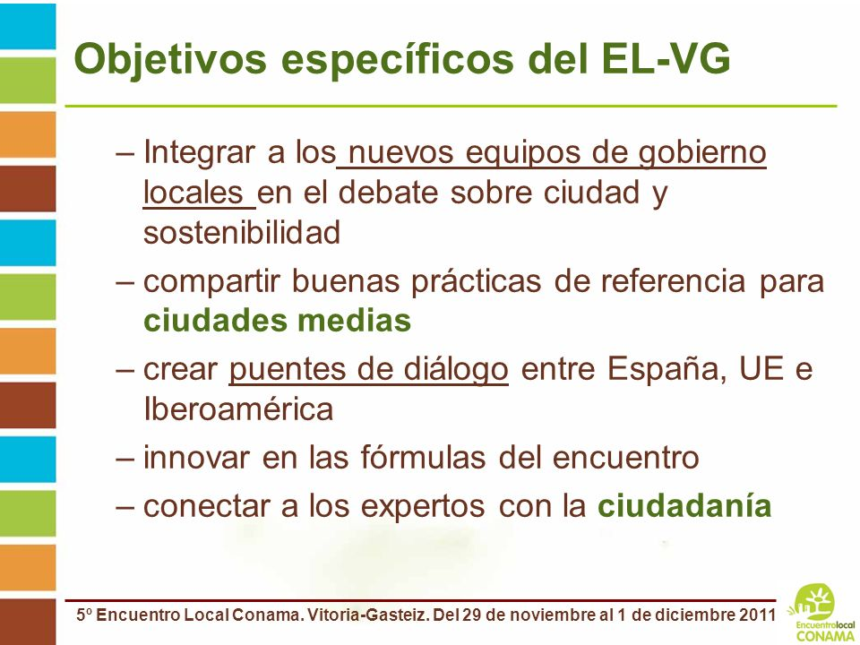 Objetivos específicos del EL-VG