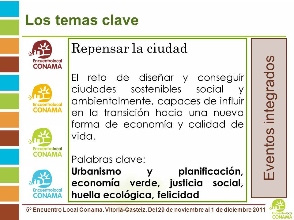 Los temas clave Eventos integrados Repensar la ciudad