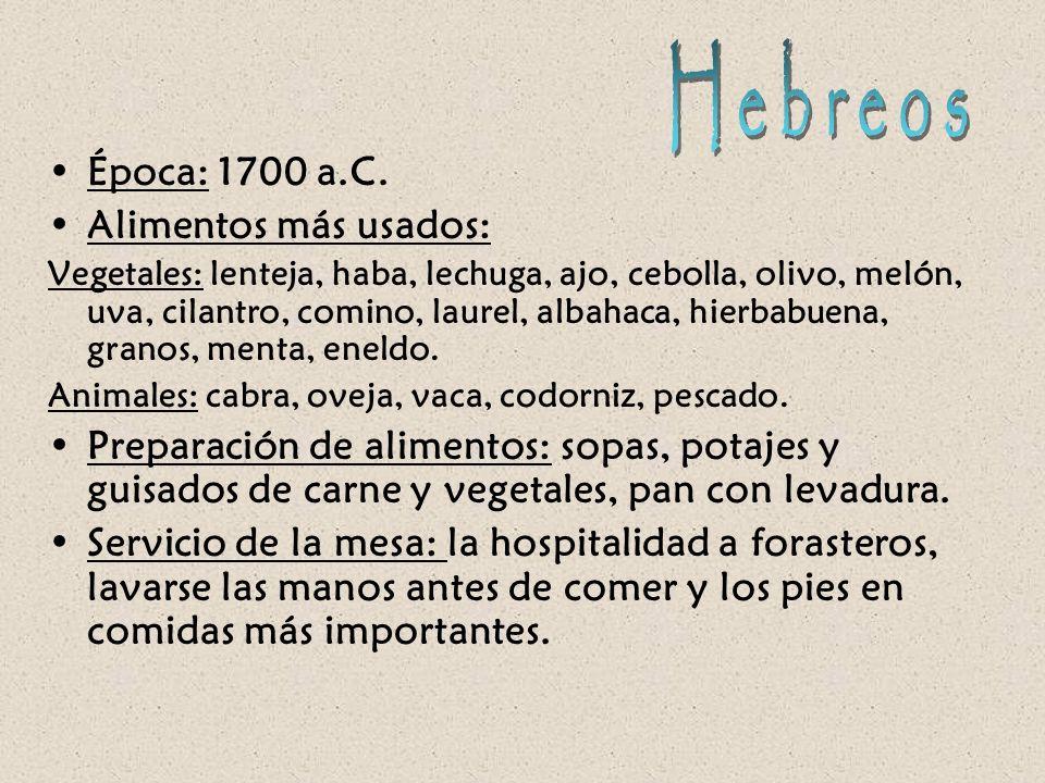 Hebreos Época: 1700 a.C. Alimentos más usados: