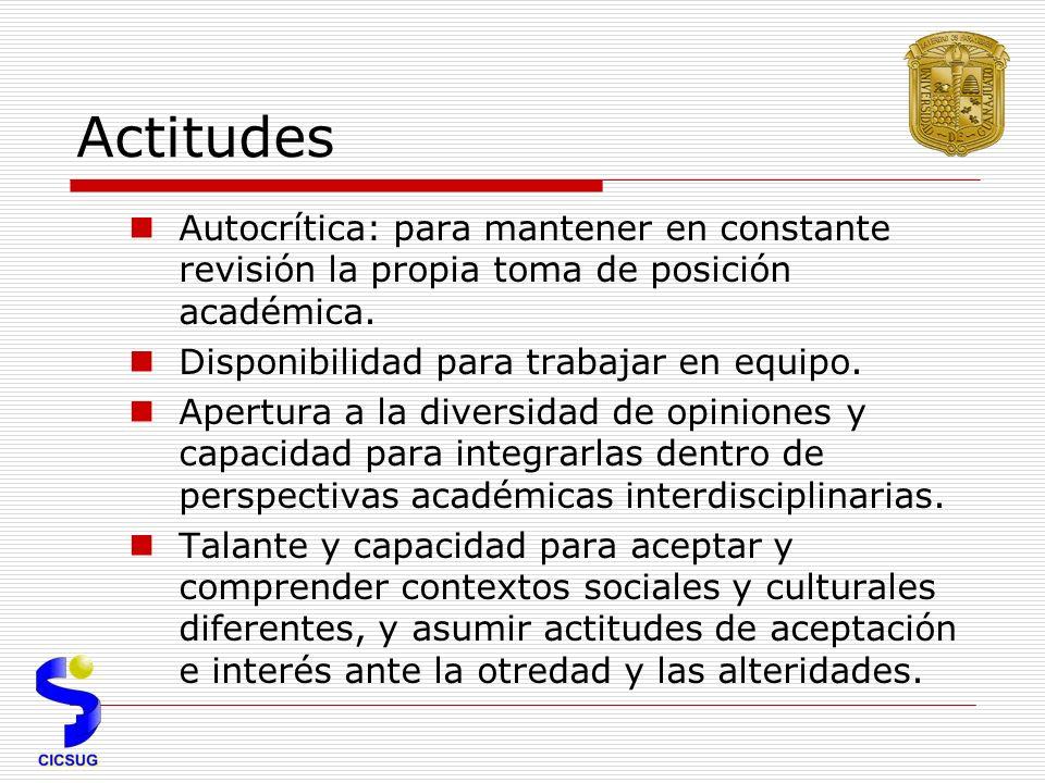 Actitudes Autocrítica: para mantener en constante revisión la propia toma de posición académica. Disponibilidad para trabajar en equipo.