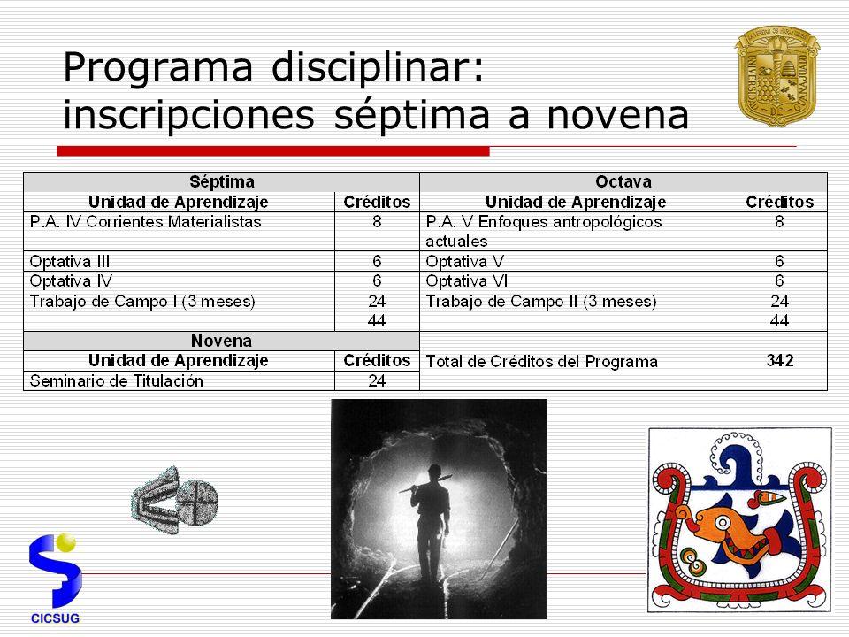 Programa disciplinar: inscripciones séptima a novena