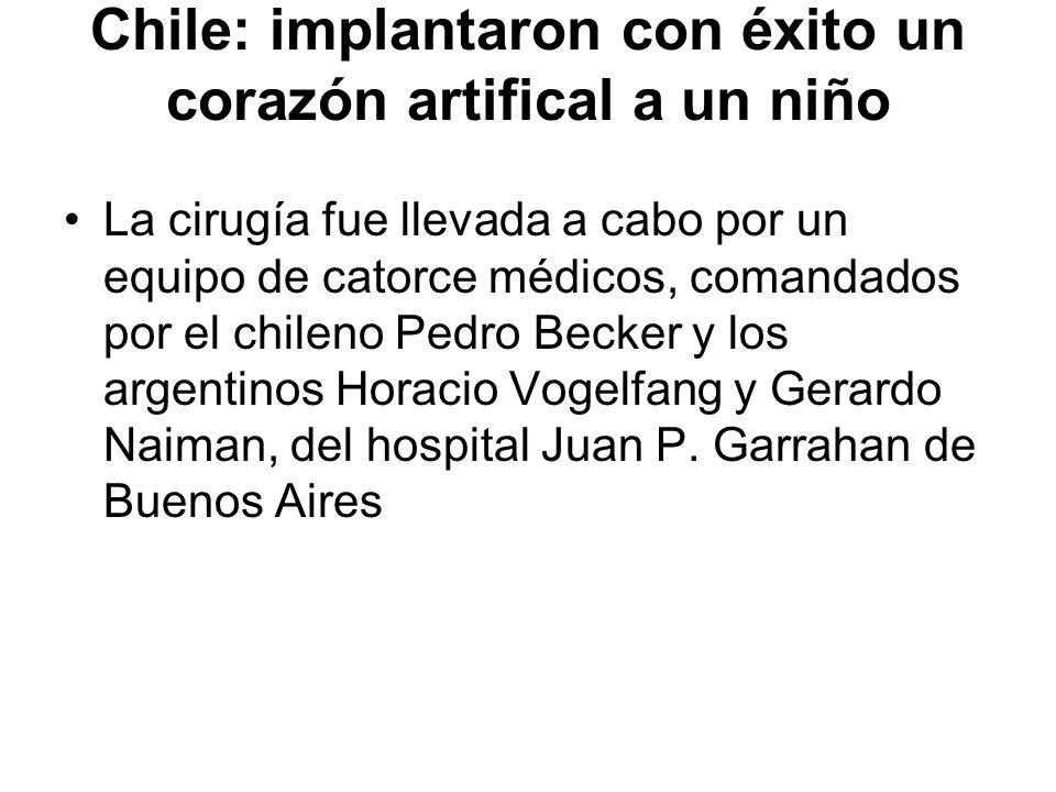 Chile: implantaron con éxito un corazón artifical a un niño