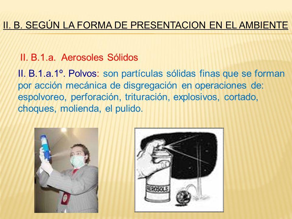 II. B. SEGÚN LA FORMA DE PRESENTACION EN EL AMBIENTE