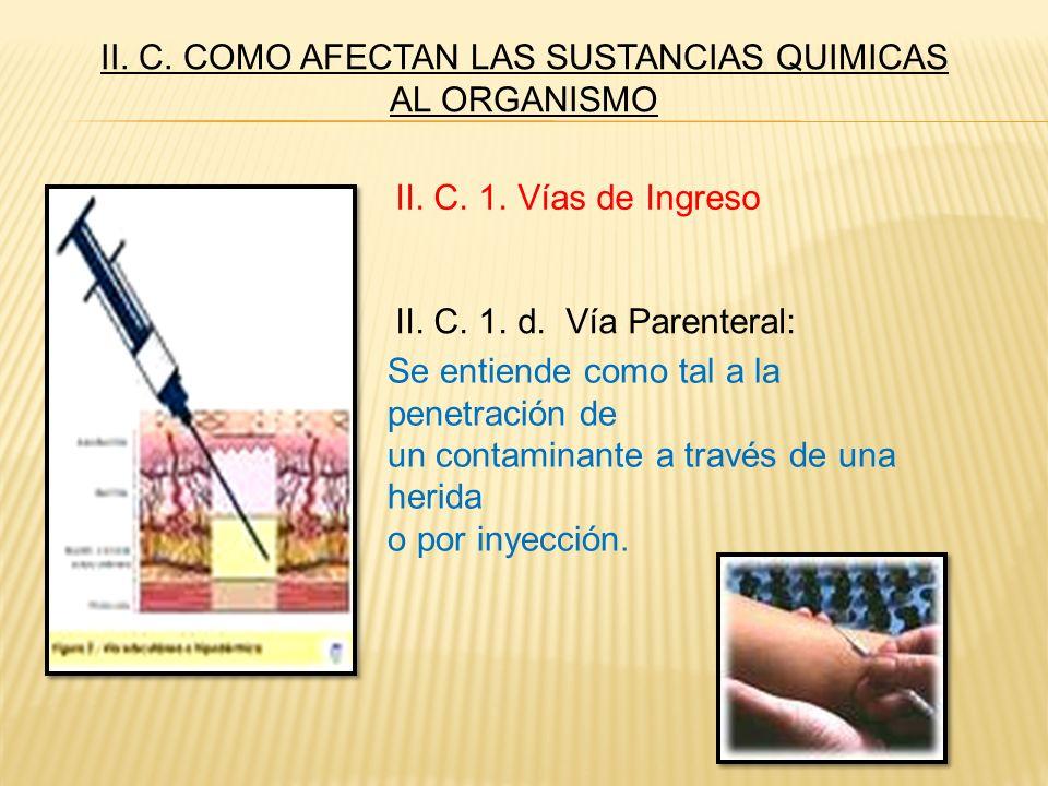II. C. COMO AFECTAN LAS SUSTANCIAS QUIMICAS