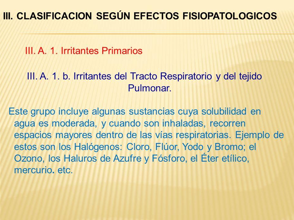 III. CLASIFICACION SEGÚN EFECTOS FISIOPATOLOGICOS