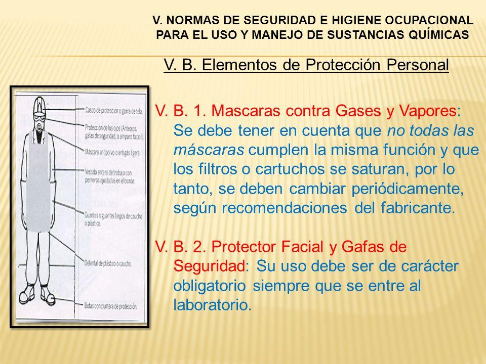 V. B. Elementos de Protección Personal