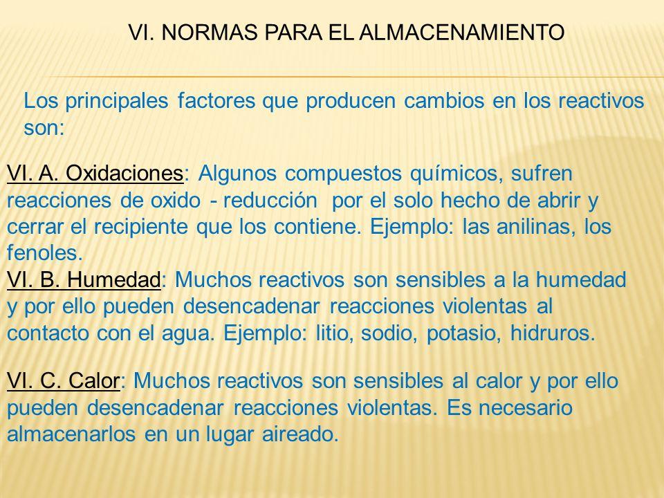 VI. NORMAS PARA EL ALMACENAMIENTO