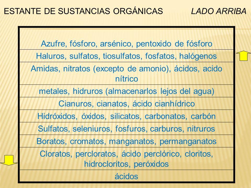 ESTANTE DE SUSTANCIAS ORGÁNICAS LADO ARRIBA