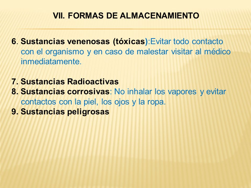 VII. FORMAS DE ALMACENAMIENTO