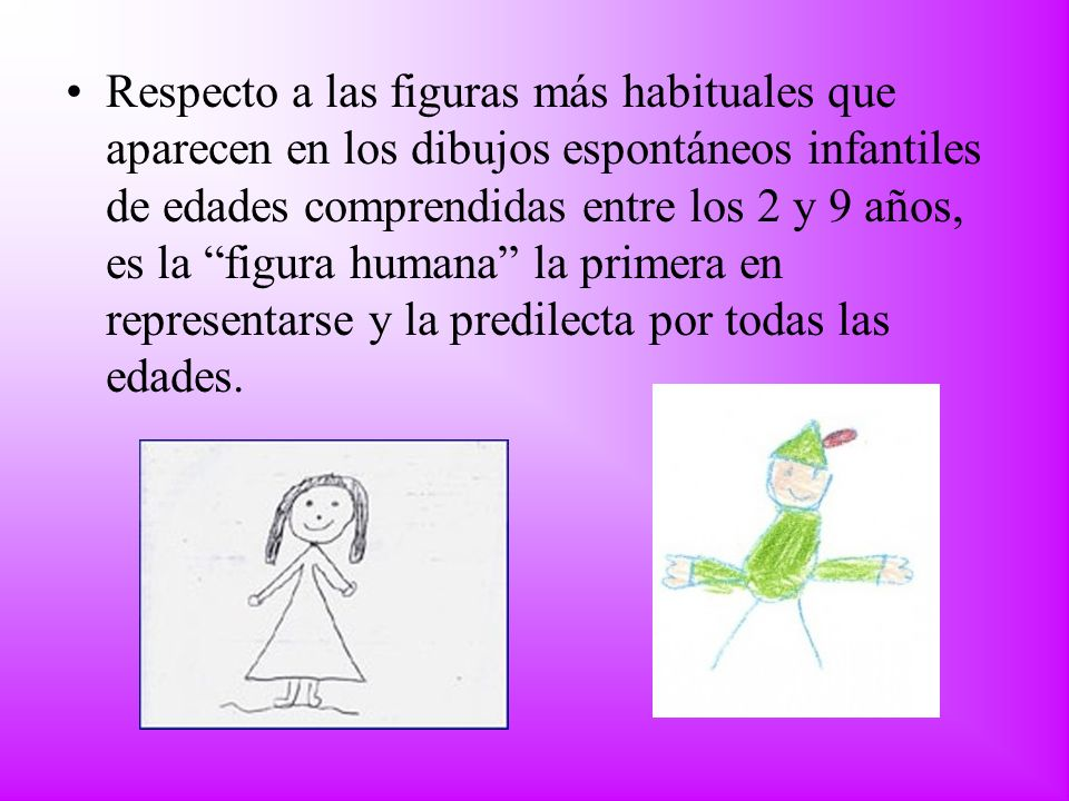 Respecto a las figuras más habituales que aparecen en los dibujos espontáneos infantiles de edades comprendidas entre los 2 y 9 años, es la figura humana la primera en representarse y la predilecta por todas las edades.
