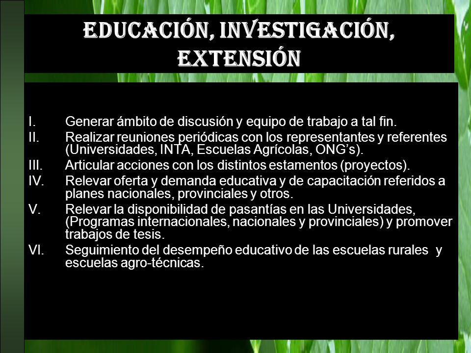 EDUCACIÓN, INVESTIGACIÓN, EXTENSIÓN