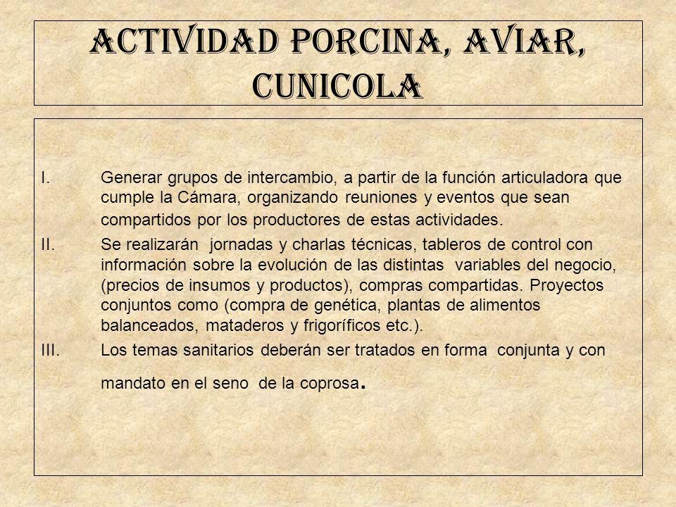 ACTIVIDAD PORCINA, AVIAR, CUNICOLA