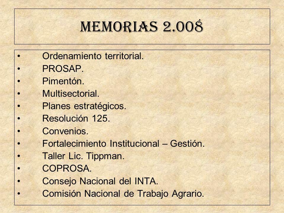 MEMORIAS 2.008 Ordenamiento territorial. PROSAP. Pimentón.