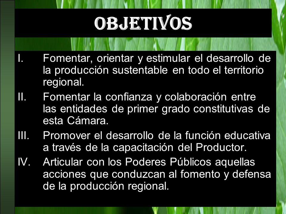 OBJETIVOS Fomentar, orientar y estimular el desarrollo de la producción sustentable en todo el territorio regional.