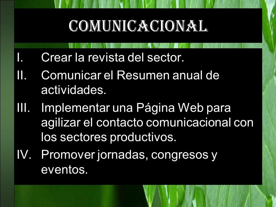 comunicacional Crear la revista del sector.