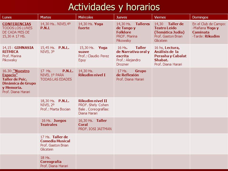 Actividades y horarios