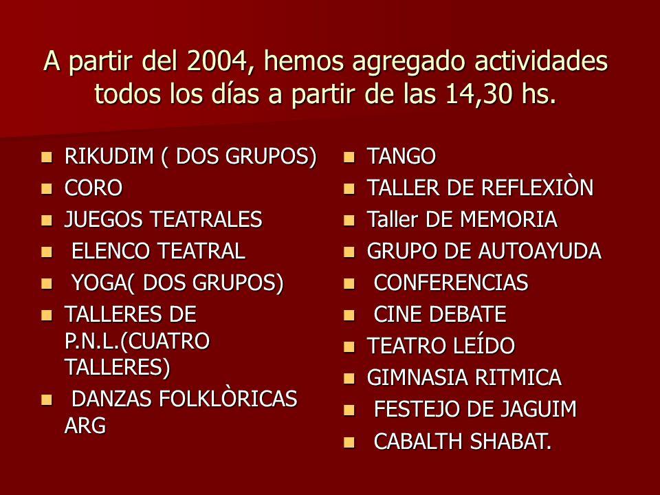 A partir del 2004, hemos agregado actividades todos los días a partir de las 14,30 hs.