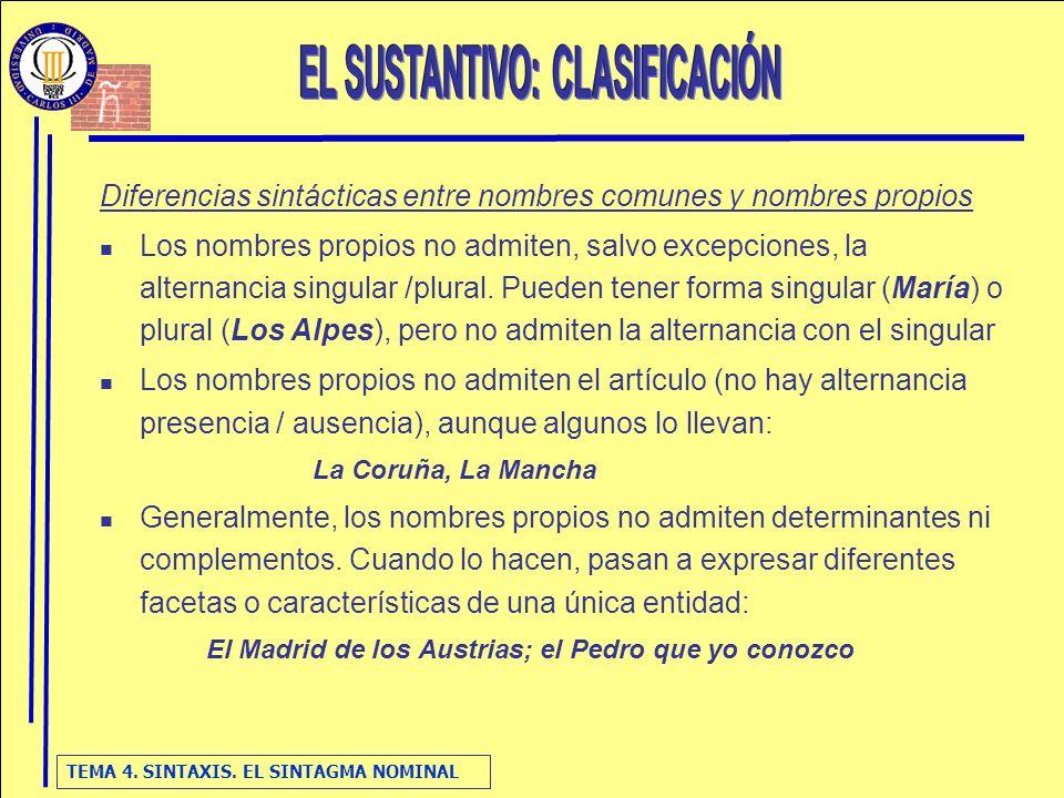 EL SUSTANTIVO: CLASIFICACIÓN