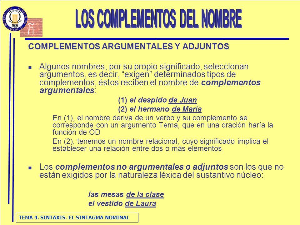 LOS COMPLEMENTOS DEL NOMBRE
