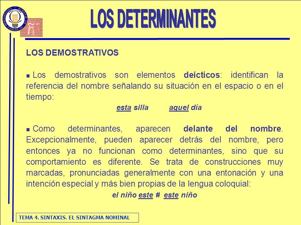 LOS DETERMINANTES LOS DEMOSTRATIVOS