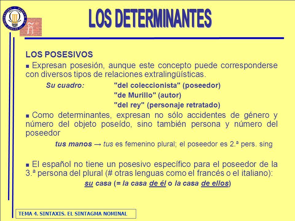 LOS DETERMINANTES LOS POSESIVOS