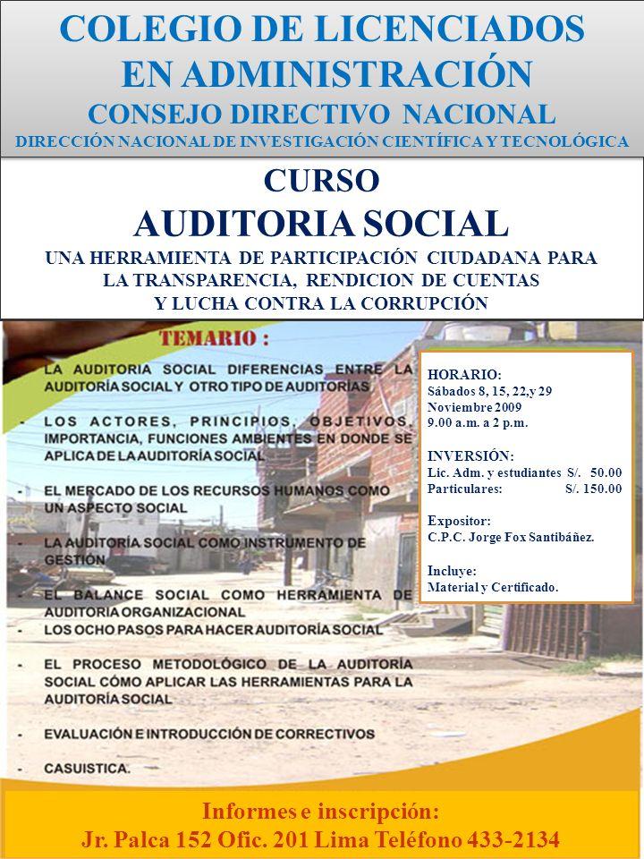 COLEGIO DE LICENCIADOS EN ADMINISTRACIÓN AUDITORIA SOCIAL