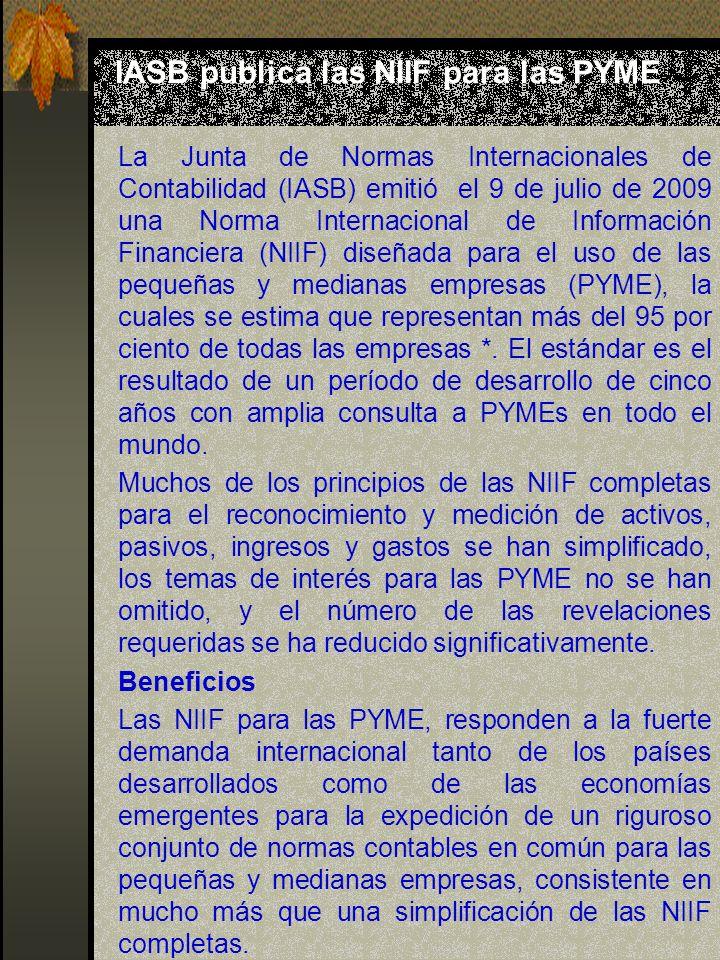 IASB publica las NIIF para las PYME