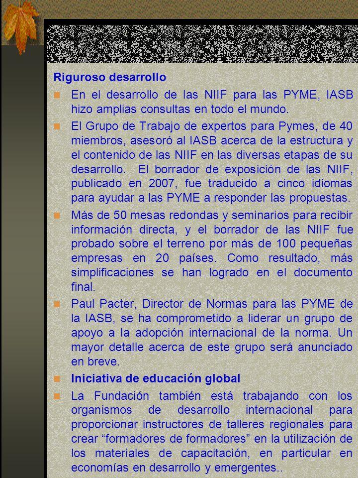 Riguroso desarrollo En el desarrollo de las NIIF para las PYME, IASB hizo amplias consultas en todo el mundo.