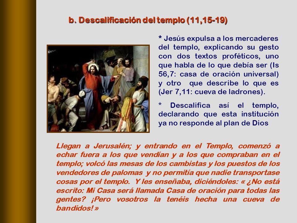b. Descalificación del templo (11,15‑19)