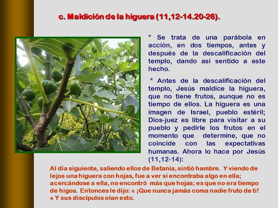 c. Maldición de la higuera (11,12‑14.20‑26).