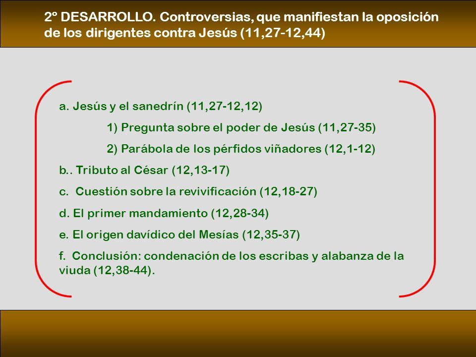 2º DESARROLLO. Controversias, que manifiestan la oposición de los dirigentes contra Jesús (11,27‑12,44)