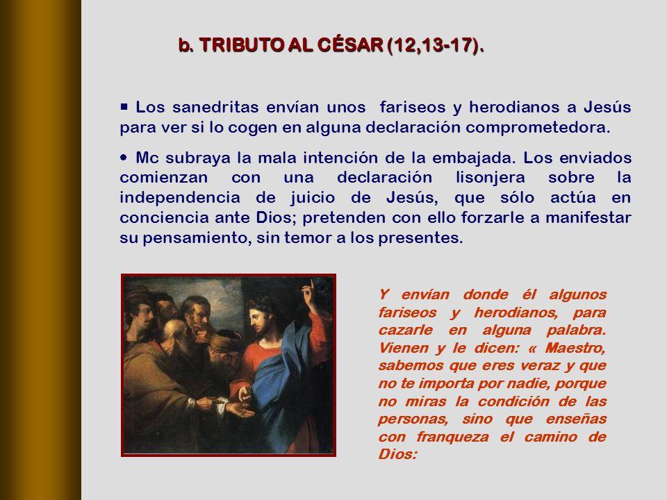 b. TRIBUTO AL CÉSAR (12,13‑17).