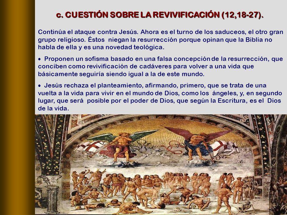 c. CUESTIÓN SOBRE LA REVIVIFICACIÓN (12,18‑27).