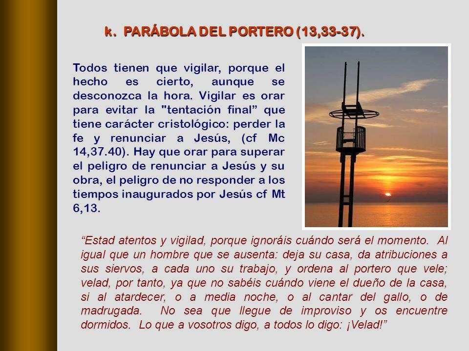 k. PARÁBOLA DEL PORTERO (13,33‑37).