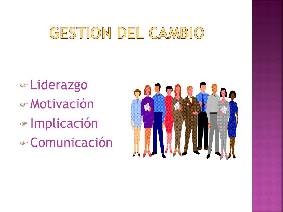 GESTION DEL CAMBIO Liderazgo Motivación Implicación Comunicación