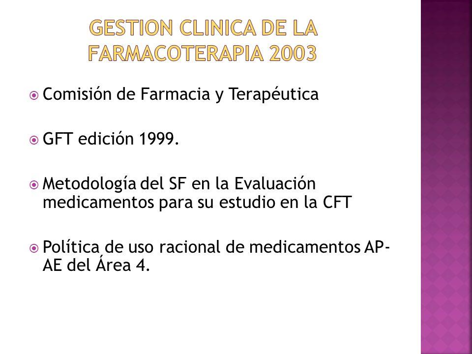 GESTION CLINICA DE LA FARMACOTERAPIA 2003