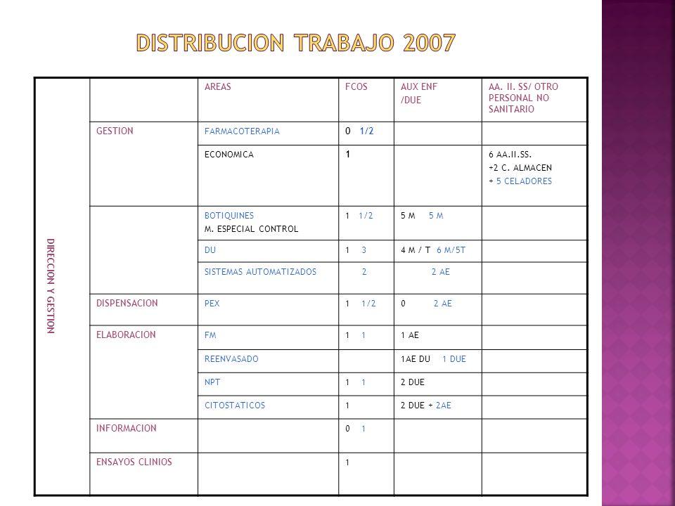 DISTRIBUCION TRABAJO 2007 DIRECCION Y GESTION AREAS FCOS AUX ENF /DUE