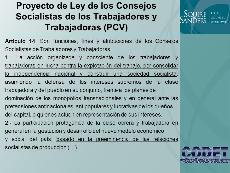 Proyecto de Ley de los Consejos Socialistas de los Trabajadores y Trabajadoras (PCV)