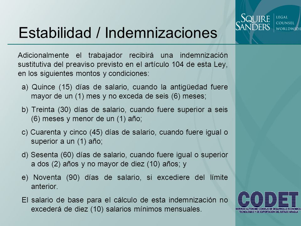 Estabilidad / Indemnizaciones
