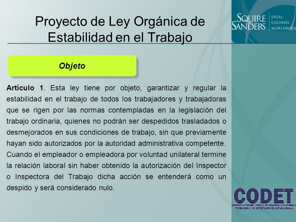 Proyecto de Ley Orgánica de Estabilidad en el Trabajo