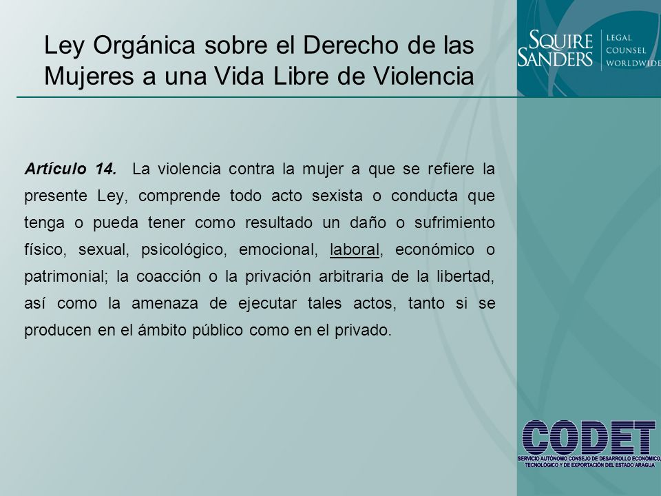 Ley Orgánica sobre el Derecho de las Mujeres a una Vida Libre de Violencia