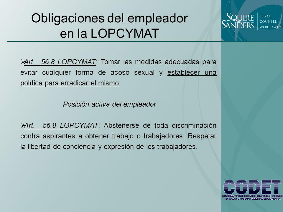 Obligaciones del empleador en la LOPCYMAT