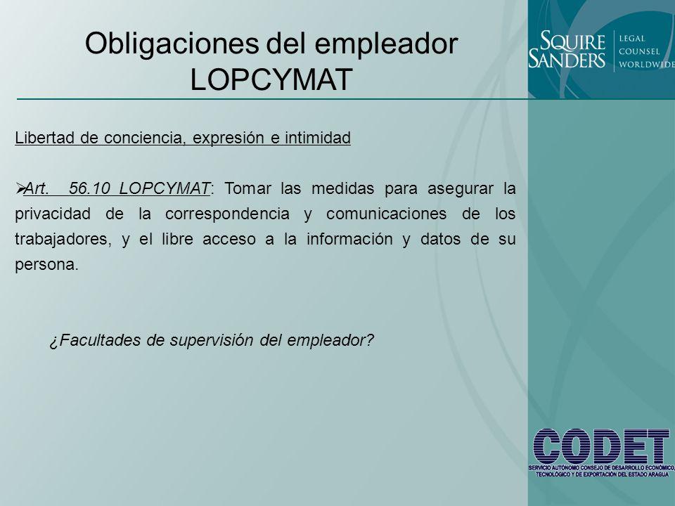Obligaciones del empleador LOPCYMAT