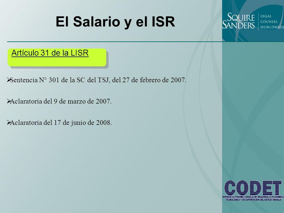 El Salario y el ISR Artículo 31 de la LISR