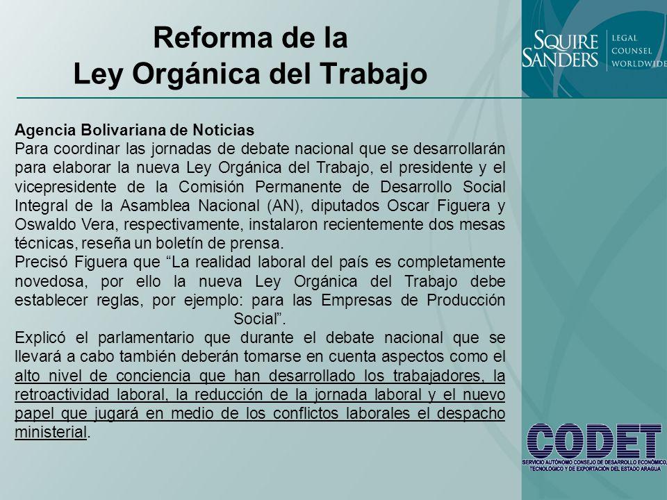 Reforma de la Ley Orgánica del Trabajo
