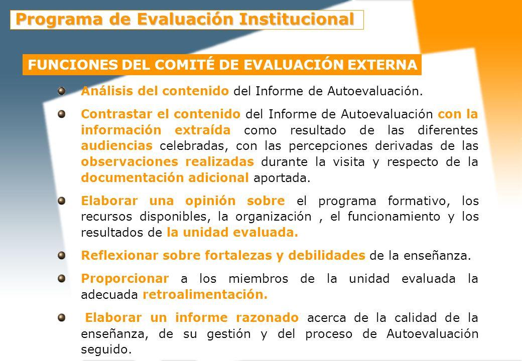 Funciones del comité de Evaluación Externa