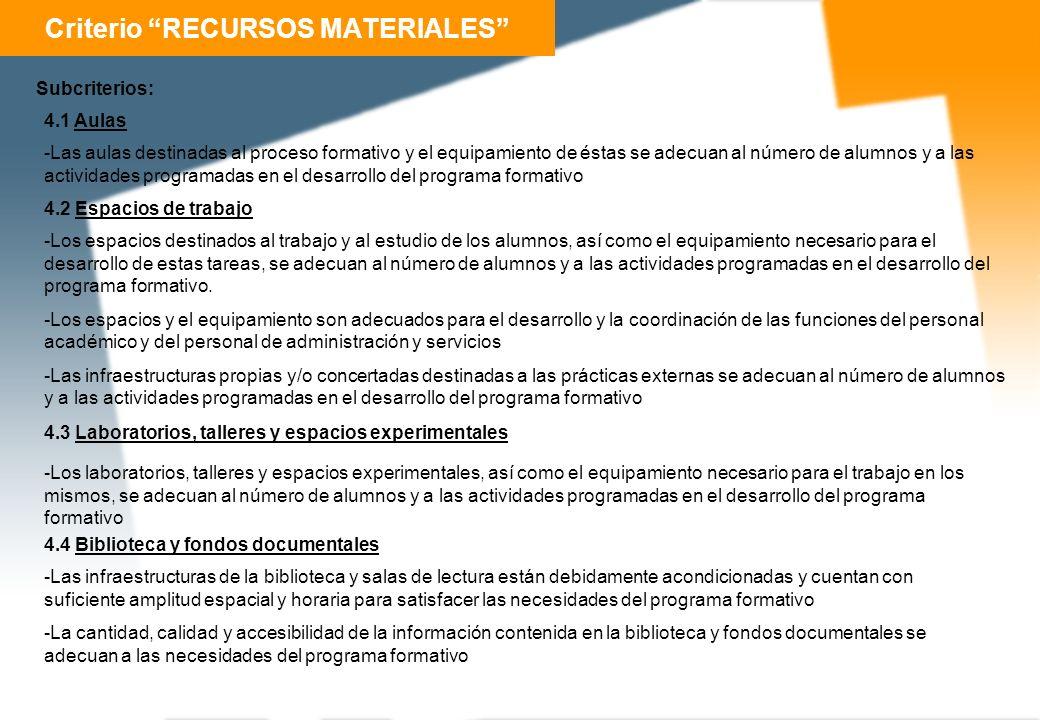 Criterio RECURSOS MATERIALES