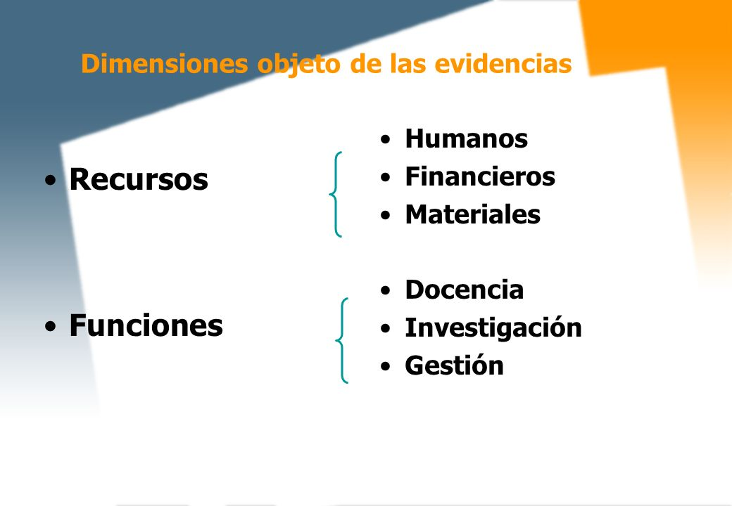 Dimensiones objeto de las evidencias
