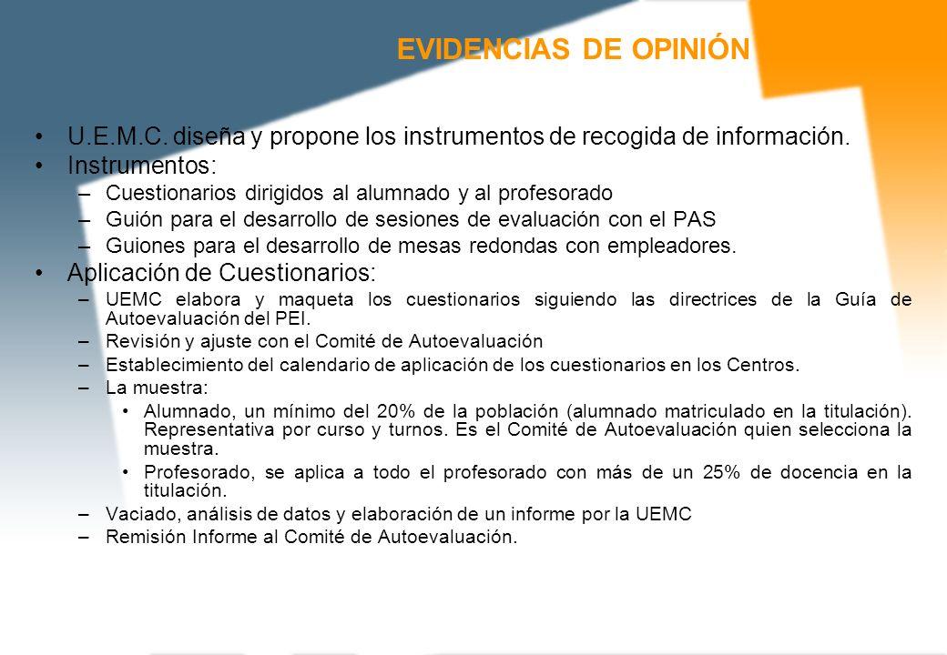 EVIDENCIAS DE OPINIÓN U.E.M.C. diseña y propone los instrumentos de recogida de información. Instrumentos: